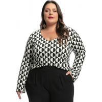 Blusa Plus Size Estampa Geométrica