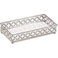 Bandeja Decorativa Retangular Em Metal Prata Com Espelho 5X24 Cm - D'Rossi
