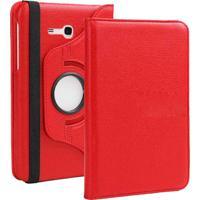 """Capa Giratória Inclinável Para Tablet Samsung Galaxy Tab3 7.0"""" Sm-T110 T111 T113 T116 + Película De Vidro Vermelho"""