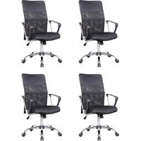 Conjunto Com 4 Cadeiras De Escritório Diretor Giratórias Com Braços Vancouver Preto