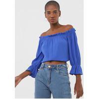 Blusa Cropped Morena Rosa Ombro A Ombro Azul