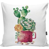Capa Para Almofada Garden- Rosa & Verde- 45X45Cmstm Home