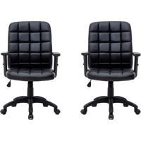 Conjunto Com 2 Cadeiras De Escritório Diretor Premium Fitz Preto