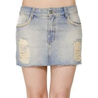 Minissaia Jeans Destroyed Handbook - Feminino-Azul