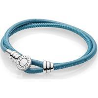 Bracelete Pandora De Couro De Duas Voltas Turquesa