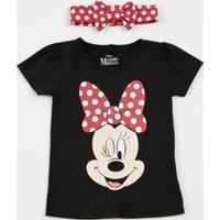 Blusa Infantil Estampa Minnie Brinde Tiara Disney