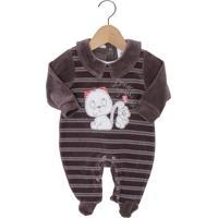Macacão Presente De Anjo Longo Baby Menino Marrom