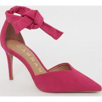 Scarpin Em Couro Acamurçado Com Amarração- Pink- Salcarrano