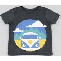 Camiseta Infantil Carro Manga Curta Cinza Mescla Escuro