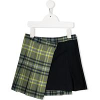 Il Gufo Check Print Contrast Mini Skirt - Azul