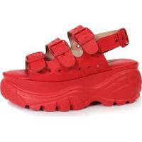 Sandália Damannu Shoes Papete Estela Feminina - Feminino-Vermelho