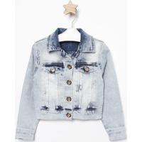 Casaco Jeans Estonado Com Recortes- Azul Claropequena Mania