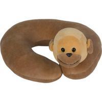 Travesseiro De Pescoço Bichos De Pano Macaco Barrigudinho - Antialérgico - Marrom