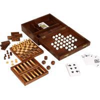 Caixa De Jogos De Madeira 7X1-Xadrez,Damas,Dados, Cartas,Gamão,...