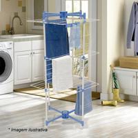 Varal Vertical- Branco & Azul- 120X57,5X56Cm- Memetaltru