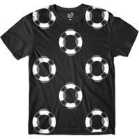Camiseta Long Beach Náutica Bóias Sublimada Masculina - Masculino-Preto+Branco