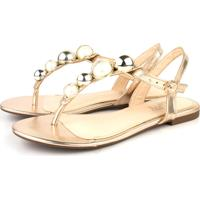 Rasteira Trivalle Shoes Bola Metal Ouro