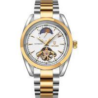 Relógio Tevise 795 Tourbillon Masculino Automático Pulseira Aço - Branco E Dourado