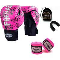 Kit Boxe Muay Thai Fheras New Top Luva + Bandagem Grafite Rosa 007