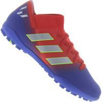 3a8e5bbfec Chuteira Society Adidas Nemeziz Messi 18.3 Tf - Adulto - Vermelho Azul