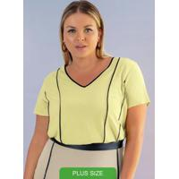 Blusa Em Tecido Flex Com Decote V Verde