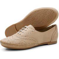 Sapato Casual Oxford Conforto Em Couro Areia