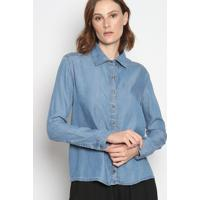 Camisa Slim Jeans Estonada- Azul Claroenna