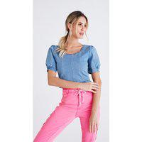Blusa Cropped Jeans Marbec Marina Azul