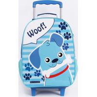 Mochila De Rodinha ''Woof!''- Azul & Branca- 49X30X1Dmw