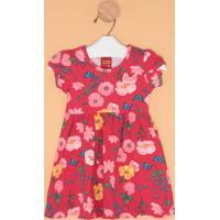 Vestido Floral Com Laço- Vermelho & Rosa Clarokyly