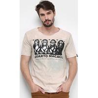 Camiseta Bossa Brasil Macacos Masculina - Masculino-Rosa+Branco