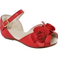 Peep Toe Em Couro Com Flor- Vermelhaprints Kids