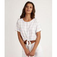 Blusa Feminina Estampada Cropped Com Nozinho Manga Curta Off White