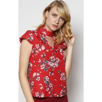 Blusa Floral Com Recorte Vazado - Vermelha & Rosamoiselle