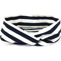 Headband Turbante Bijoulux Listrada Azul E Branca