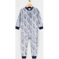 Pijama Infantil Macacão Com Estampa Raios Em Fleece - Tam 1 A 10