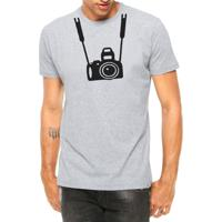 Camiseta Criativa Urbana Câmera Fotográfica Foto Manga Curta Cinza Mescla