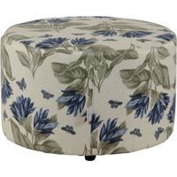 Puff Redondo Pastilha Jacguard Floral Azul