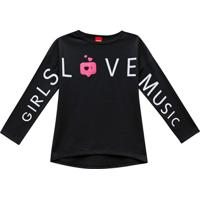 Blusa ''Girls Love Music''- Preta & Brancakyly
