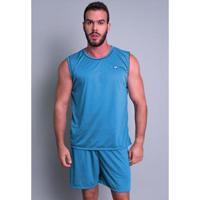 Pijama Mvb Modas Curto Camiseta Masculino - Masculino-Azul Claro