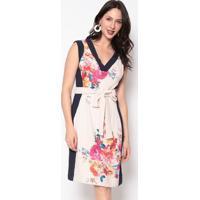 Vestido Com Recortes- Rosê & Azul- Nectarinanectarina