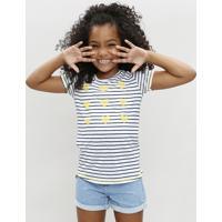 Blusa Infantil Listrada Com Corações Manga Curta Decote Redondo Branca