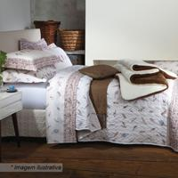 Edredom Tribal Abstrata King Size - Branco & Marrom Sultan