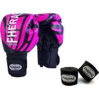Kit Boxe Muay Thai Fheras New Top Luva + Bandagem Elite Rosa 002