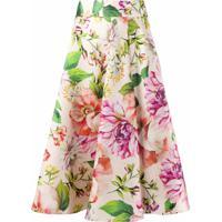 Dolce & Gabbana Saia Midi Com Estampa Floral - Rosa