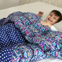Cobertor Ponderado Artesanal Azul Florido Grande Teiajubinha