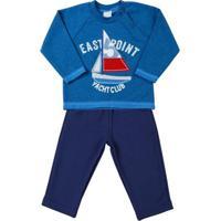 Conjunto Bebê Malha Minichevron E Moletom East Po - Masculino-Azul