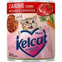 Ração Para Gatos Kelcat Carne Com Ervilha E Cenoura Lata 280G