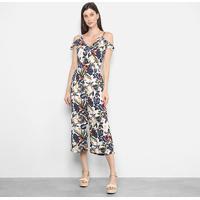 Macacão Longo Lily Fashion Open Shoulder Feminino - Feminino-Branco+Azul