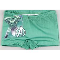 Sunga Infantil Boxer Hulk Os Vingadores Verde